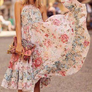 Floryday Pink/Blue Floral Cottage Core Midi Dress